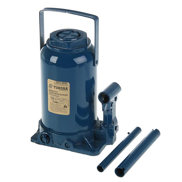 Домкрат гидравлический бутылочный TUNDRA 16 т, телескопический 232-567 мм
