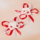Бант свадебный для декора «С тройным цветочком» D-7 см 2 шт, цвет красный