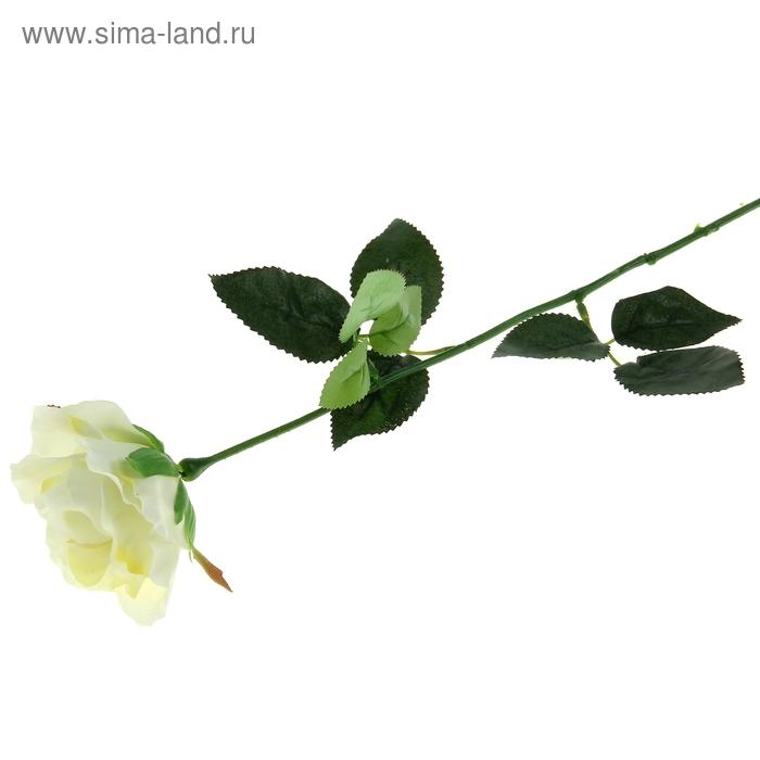 """Цветок искусственный """"Роза с каплями"""" белая"""