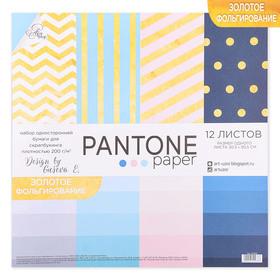 Набор бумаги для скрапбукинга с фольгированием Pantone paper, 12 листов 30.5 × 30.5 см