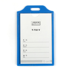 Бейдж-карман вертикальный 55х85мм, жесткокаркасный, без держателя, синий