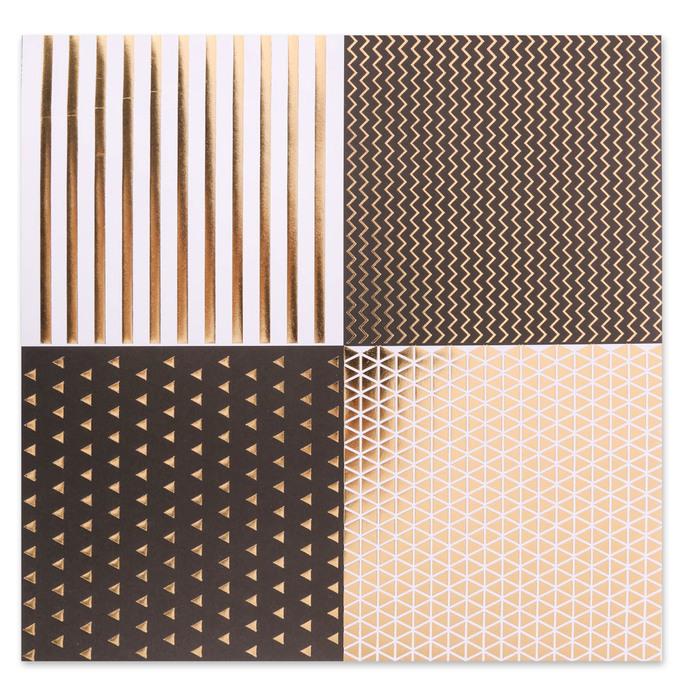 Набор бумаги для скрапбукинга с фольгированием «Магический чёрный», 10 листов 30.5 × 30.5 см - фото 370876160