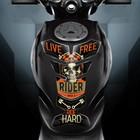 "Наклейка на мотоцикл ""Ride hard"", 25 х 18 см"