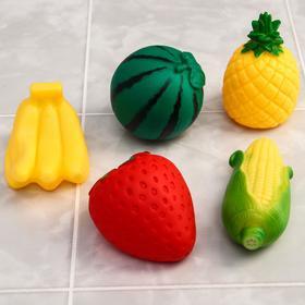Набор игрушек для купания «Овощи-фрукты», 5 шт, с пищалкой