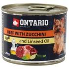 Влажный корм Ontario для собак малых пород, говядина и цуккини, ж/б, 200 г