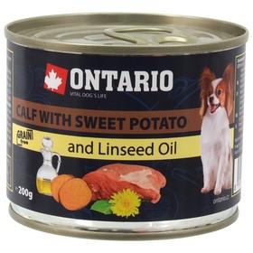 Влажный корм Ontario для собак малых пород, телятина и батат, ж/б, 200 г