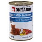 Влажный корм Ontario для кошек, говядина и лосось, ж/б, 400 г