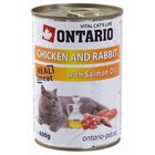 Влажный корм Ontario для кошек, курица и кролик, ж/б, 400 г