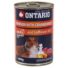 Влажный корм Ontario для собак, оленина и клюква, ж/б, 400 г