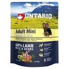 Сухой корм Ontario для собак малых пород, ягненок и рис, 750 г.
