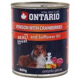 Влажный корм Ontario для собак, оленина и клюква, ж/б, 800 г