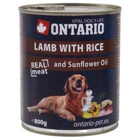 Влажный корм Ontario для собак, ягненок и рис, ж/б, 800 г