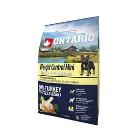"""Сухой корм Ontario для собак малых пород, """"Контроль веса"""", индейка/картофель, 2,25 кг."""