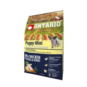 Сухой корм Ontario для щенков малых пород, курица и картофель, 2,25 кг.