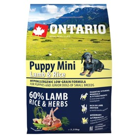 Сухой корм Ontario для щенков малых пород, ягненок и рис, 2,25 кг.