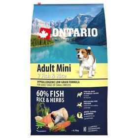 Сухой корм Ontario для собак малых пород, 7 видов рыбы и рис, 6,5 кг.