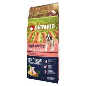 Сухой корм Ontario для щенков крупных пород, курица и картофель, 12 кг.