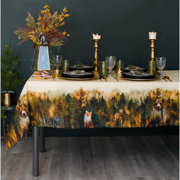Скатерть «Этель: Лес», 110 × 150 см, хлопок 100 %, саржа, 190 г/м²