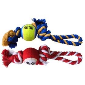 """Игрушка Fauna INT """"Канатик с мячом"""", для собак, 2узла, 215-225г, 35см"""