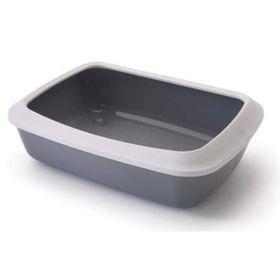 Туалет для кошек LITTER TRAY ISIS с бортом, 42 см, серый