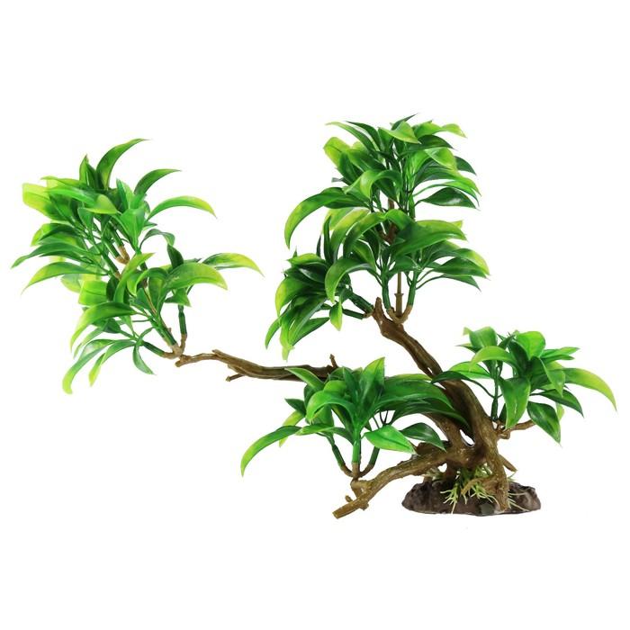 """Декорация  Fauna INT """"Растение на коряге"""" №26, 30х11х22см, пластик - фото 7411632"""