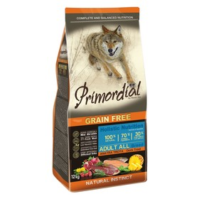 Сухой корм MISTER PET PRIMORDIAL для собак, беззерновой, форель/утка, 12 кг.