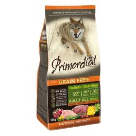 Сухой корм MISTER PET PRIMORDIAL для собак, беззерновой, оленина/индейка, 12 кг.