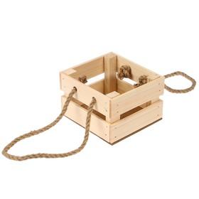 Ящик реечный №5 для цветов 'Натуральный', ручка-верёвка, 13х12.5х9см Ош