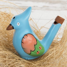 "Ceramic tin whistle ""Bird with a tuft. Painted"" blue"