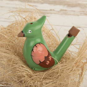 "Ceramic tin whistle ""Bird with a tuft. Painted"" green"