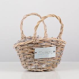 Кашпо «Цветы», сумочка, натуральное, 24х17х14/24 см