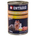 Влажный корм Ontario для собак, курица и морковь, ж/б, 400 г