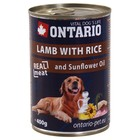 Влажный корм Ontario для собак, ягненок и рис, ж/б, 400 г