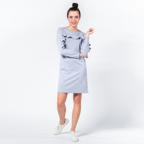 Платье с рюшами MINAKU, размер 46, цвет серый