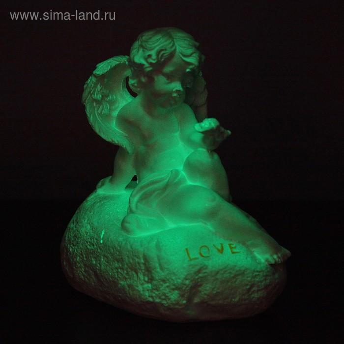"""Статуэтка светящаяся """"Ангел на камне малый"""" 14см"""
