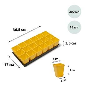 Набор для рассады: стаканы по 200 мл (18 шт.), поддон, цвет МИКС