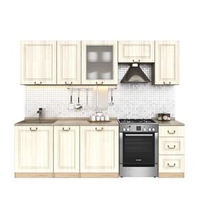 Кухонный гарнитур, 2000 мм, цвет Каприз/Сандал белый