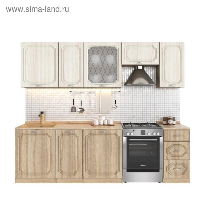 Кухонный гарнитур, 2000 мм, цвет Валенсия/Сандал белый/Дуб сонома