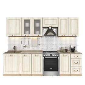 Кухонный гарнитур, 2200 мм, цвет Каприз/Сандал белый