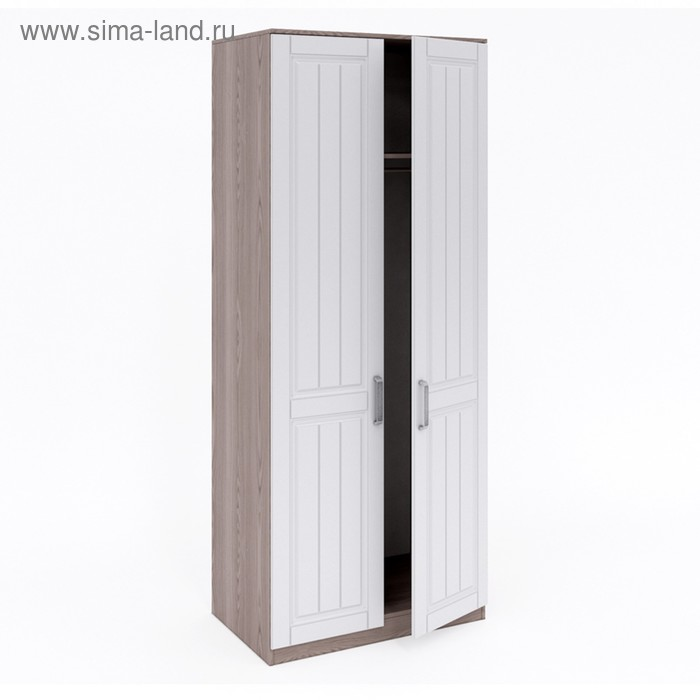 Шкаф 2-х дверный для платья Аллегро, 900х550х2200, Платина шагрень/Дезира светлый