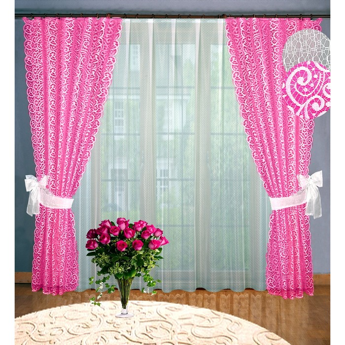 Комплект штор, размер 160 х 250 см - 2 шт, 250 х 300 см - 1 шт., цвет розовый - фото 8443744