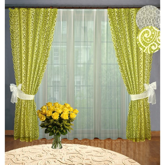 Комплект штор, размер 160 х 250 см - 2 шт, 250 х 300 см - 1 шт., цвет оливковый - фото 8443745