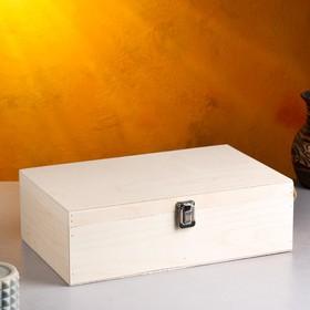 Подарочный ящик 34×21.5×10.5 см деревянный 3 отдела, с закрывающейся крышкой, без покраски