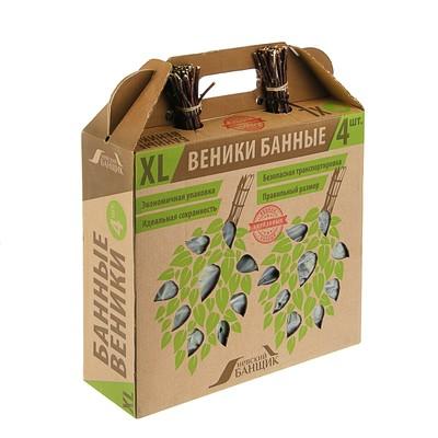 Набор берёзовых веников для бани, в коробке, 4шт.