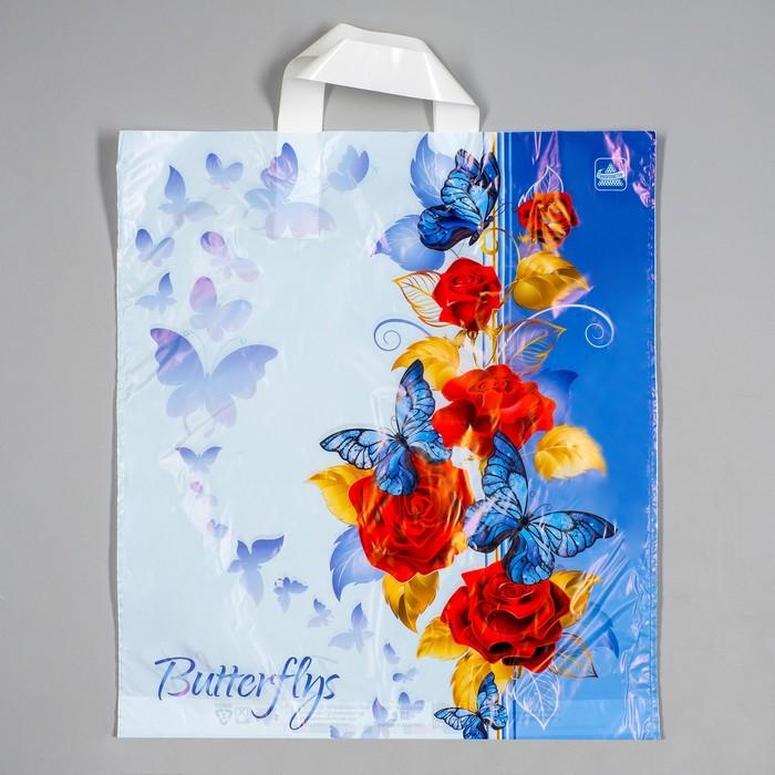 """Пакет """"Синие бабочки"""", полиэтиленовый с петлевой ручкой, 42 х 38 см, 37 мкм - фото 308291885"""