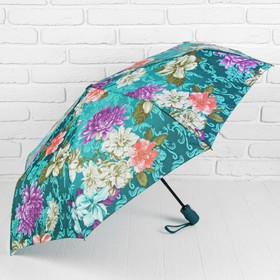 Зонт автоматический «Цветы», 3 сложения, R = 50 см, цвет бирюзовый Ош