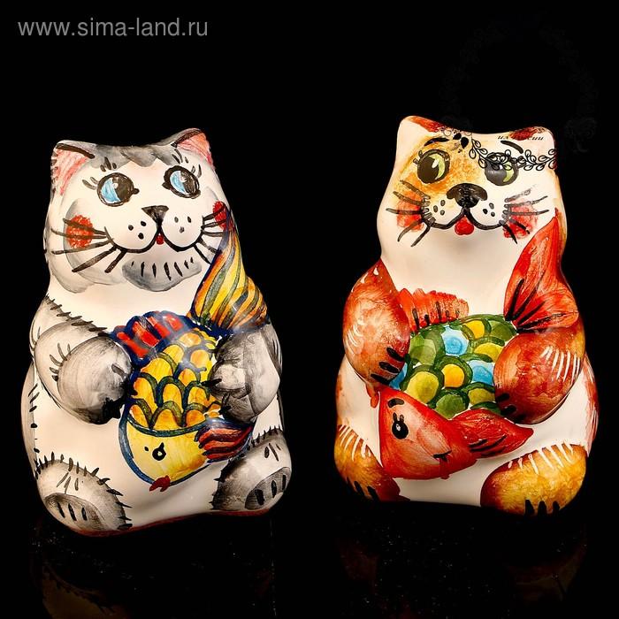 Сувенир «Кот с рыбкой», 6,5 см, ярославская майолика