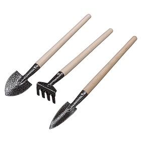 Набор садового инструмента, 3 предмета: грабельки, 2 совка, деревянные ручки, «ЗУБР» Ош