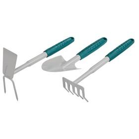 Набор садового инструмента, 3 предмета: мотыжка, совок, грабли, пластиковые ручки, RACO Ош