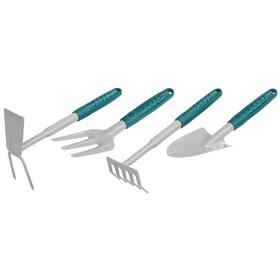 Набор садового инструмента, 4 предмета: мотыжка, вилка, грабли, совок, пластиковые ручки, RACO Ош